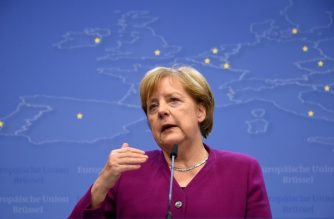 Germany's Chancellor Angela Merkel gestures as she addresses media representatives after a European Union (EU) summit at EU Commission Headquarters in Brussels on May 28, 2019. (Photo by JOHN THYS / AFP)