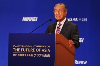 "Malaysia's Prime Minister Mahathir Mohamad delivers a speech during the 25th International Conference on the Future Of Asia in Tokyo on May 30, 2019. (Photo by CHARLY TRIBALLEAU / AFP) / ""The erroneous mention[s] appearing in the metadata of this photo by CHARLY TRIBALLEAU has been modified in AFP systems in the following manner: [Mahathir Mohamad] instead of [Mahatir Mohamad]. Please immediately remove the erroneous mention[s] from all your online services and delete it (them) from your servers. If you have been authorized by AFP to distribute it (them) to third parties, please ensure that the same actions are carried out by them. Failure to promptly comply with these instructions will entail liability on your part for any continued or post notification usage. Therefore we thank you very much for all your attention and prompt action. We are sorry for the inconvenience this notification may cause and remain at your disposal for any further information you may require."""
