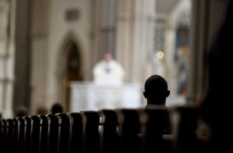 PITTSBURGH, PA - AUGUST 15: Parishioners worship during a mass to celebrate the Assumption of the Blessed Virgin Mary at St Paul Cathedral, the mother church of the Pittsburgh Diocese on August 15, 2018 in Pittsburgh, Pennsylvania. The Pittsburgh Diocese was rocked by revelations of abuse by priests the day before on August 14, 2018.  Jeff Swensen/Getty Images/AFP