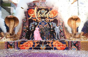 """LOS ANGELES, CA - MAY 21: (L-R) Actors Nasim Pedrad, Marwan Kenzari, Naomi Scott, Mena Massoud, Will Smith, Navid Negahban and Numan Acar attend the World Premiere of Disney?s """"Aladdin"""" at the El Capitan Theater in Hollywood CA on May 21, 2019, in the culmination of the film?s Magic Carpet World Tour with stops in Paris, London, Berlin, Tokyo, Mexico City and Amman, Jordan.   Jesse Grant/Getty Images for Disney/AFP"""