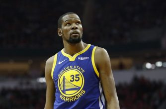 HOUSTON, TX - MAY 04: Kevin Durant #35 of the Golden State Warriors looks toward the scoreboard in the second quarter during Game Three of the Second Round of the 2019 NBA Western Conference Playoffs against the Houston Rockets at Toyota Center on May 4, 2019 in Houston, Texas. NOTE TO USER: User expressly acknowledges and agrees that, by downloading and or using this photograph, User is consenting to the terms and conditions of the Getty Images License Agreement.   Tim Warner/Getty Images/AFP