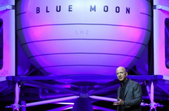 WASHINGTON, DC - MAY 09: Jeff Bezos, owner of Blue Origin, introduces a new lunar landing module called Blue Moon during an event at the Washington Convention Center, May 9, 2019 in Washington, DC. Bezos said the module will be used to land humans the moon once again.   Mark Wilson/Getty Images/AFP