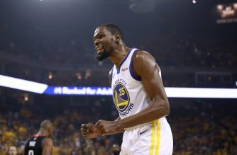 OAKLAND, CALIFORNIA - MAY 08: Kevin Durant #35 of the Golden State Warriors reacts during their game against the Houston Rockets in Game Five of the Western Conference Semifinals of the 2019 NBA Playoffs at ORACLE Arena on May 08, 2019 in Oakland, California. NOTE TO USER: User expressly acknowledges and agrees that, by downloading and or using this photograph, User is consenting to the terms and conditions of the Getty Images License Agreement.   Ezra Shaw/Getty Images/AFP