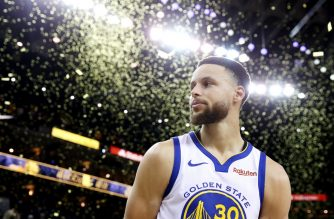 OAKLAND, CALIFORNIA - MAY 14: Stephen Curry #30 of the Golden State Warriors reacts after defeating the Portland Trail Blazers 116-94 in game one of the NBA Western Conference Finals at ORACLE Arena on May 14, 2019 in Oakland, California. NOTE TO USER: User expressly acknowledges and agrees that, by downloading and or using this photograph, User is consenting to the terms and conditions of the Getty Images License Agreement.   Ezra Shaw/Getty Images/AFP
