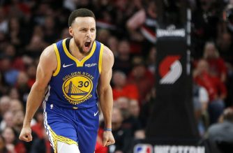 PORTLAND, OREGON - MAY 18: Stephen Curry #30 of the Golden State Warriors reacts during the second half against the Portland Trail Blazers in game three of the NBA Western Conference Finals at Moda Center on May 18, 2019 in Portland, Oregon. NOTE TO USER: User expressly acknowledges and agrees that, by downloading and or using this photograph, User is consenting to the terms and conditions of the Getty Images License Agreement.   Jonathan Ferrey/Getty Images/AFP