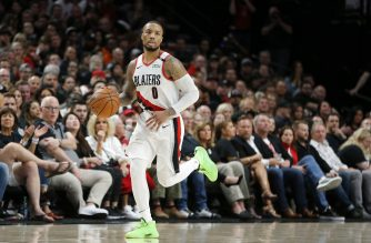 PORTLAND, OREGON - MAY 18: Damian Lillard #0 of the Portland Trail Blazers dribbles against the Golden State Warriors in game three of the NBA Western Conference Finals at Moda Center on May 18, 2019 in Portland, Oregon. NOTE TO USER: User expressly acknowledges and agrees that, by downloading and or using this photograph, User is consenting to the terms and conditions of the Getty Images License Agreement.   Jonathan Ferrey/Getty Images/AFP