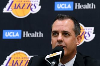 EL SEGUNDO, CALIFORNIA - MAY 20: New Los Angeles Lakers head coach Frank Vogel speaks to media at a press conference at UCLA Health Training Center on May 20, 2019 in El Segundo, California.   Harry How/Getty Images/AFP