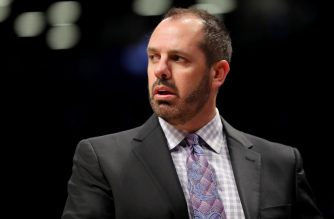 NEW YORK, NY - OCTOBER 20: Frank Vogel of the Orlando Magic reacts in frustration in the Magic's 121-126 loss against the Brooklyn Nets during their game at Barclays Center on October 20, 2017 in the Brooklyn borough of New York City. NOTE TO USER: User expressly acknowledges and agrees that, by downloading and or using this photograph, User is consenting to the terms and conditions of the Getty Images License Agreement.   Abbie Parr/Getty Images/AFP