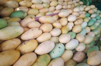 Guimaras mangoes on a food stall in Western Visayas./Manny Piñol Facebook page/