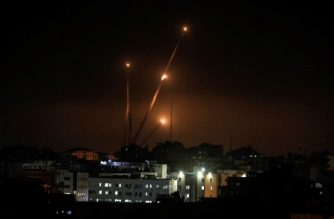 A picture taken in Gaza city on May 5, 2019 shows rockets fired toward the Israeli areas from Gaza Strip. - Gaza militants on Saturday fired some 250 rockets at Israel, which responded with strikes as a fragile ceasefire again faltered in an escalation that left four Palestinians dead, including a baby in disputed circumstances. (Photo by MAHMUD HAMS / AFP)