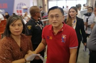 Bong Go wore a red T-shirt in his proclamation as senator on Wednesday, May 22./Meanne Corvera/Eagle News/