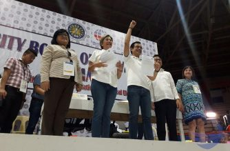 The newly proclaimed Manila mayor Isko Moreno and his vice-mayor Honey Lacuna during the proclamation of winners by the Manila City Board of Canvassers on Tuesday, May 14, 2019.  (Photo by Moira Encina, Eagle News Service)