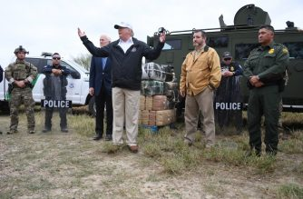 US President Donald Trump speaks after he received a briefing on border security next to Sen. John Cornyn(L) R-TX and Sen. Ted Cruz(2ndR) R-TX near the Rio Grande in McAllen, Texas, on January 10, 2019. - Trump travelled to the US-Mexico border as part of his all-out offensive to build a wall, a day after he stormed out of negotiations when Democratic opponents refused to agree to fund the project in exchange for an end to a painful government shutdown. (Photo by Jim WATSON / AFP)