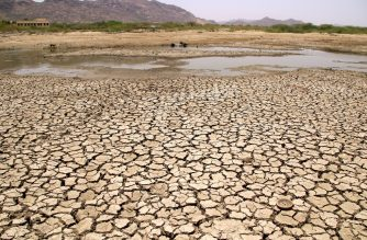 A general view of a lake running dry on a hot summer day near Ajmer on June 2, 2019. - Temperatures passed 50 degrees Celsius (122 Fahrenheit) in northern India as an unrelenting heatwave triggered warnings of water shortages and heatstroke. (Photo by Himanshu SHARMA / AFP)