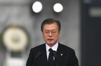 South Korean President Moon Jae-In delivers a speech during a ceremony to mark the Korean Memorial Day at the National Cemetery in Seoul on June 6, 2019. - South Korea marked the 64th anniversary of Memorial Day, remembering those killed in the 1950-53 Korean War. (Photo by Jung Yeon-je / AFP)