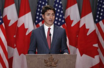 (FILES) In this file photo taken on May 30, 2019 Canadian Prime Minister Justin Trudeau speaks during a joint press conference with the US Vice President in Ottawa, Ontario. - Canada will ban single use plastics from 2021, including bags, coffee cup lids and bottles, Prime Minister Justin Trudeau announced on June 10, 2019. In an announcing the decision, Trudeau said that in Canada less than 10 percent of plastics are currently recycled. (Photo by Lars Hagberg / AFP)