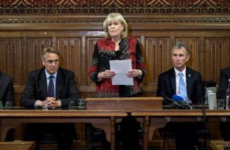 Conservative MP and joint acting chair of the 1922 Committee, Cheryl Gillan (C), stands alongside Conservative MPs Charles Walker (2L) and Nigel Evans (2R) as she reads out the list of the candidates who will stand in the contest to become Leader of the Conservative Party, in the Houses of Parliament in London on June 10, 2019. - Ten British Conservative MPs were formally announced Monday as having thrown their hats into the ring in the fight to replace Theresa May as party leader and Prime Minister, with her former foreign secretary Boris Johnson seen as the runaway favourite. The nominees are: Andrea Leadsom, Esther McVey, Boris Johnson, Dominic Raab, Sajid Javid, Michael Gove, Jeremy Hunt, Mark Harper, Rory Stewart and Matt Hancock. (Photo by Stefan Rousseau / POOL / AFP)