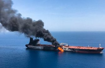 A picture obtained by AFP from Iranian News Agency ISNA on June 13, 2019 reportedly shows fire and smoke billowing from Norwegian owned Front Altair tanker said to have been attacked in the waters of the Gulf of Oman. - Suspected attacks left two tankers in flames in the waters of the Gulf of Oman today, sending world oil prices soaring as Iran helped rescue stricken crew members. The mystery incident, the second involving shipping in the strategic sea lane in only a few weeks, came amid spiralling tensions between Tehran and Washington, which has pointed the finger at Iran over earlier tanker attacks in May. (Photo by - / ISNA / AFP)