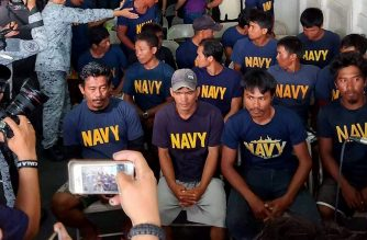 "A handout photo taken on June 14, 2019, and released on June 15 by the Philippine Coastguard shows Filipino fishermen on board the BRP Ramon Alcaraz on Occidental Mindoro. - Beijing confirmed on June 15, 2019 that a Chinese vessel hit a Philippine fishing boat in a collision which has increased tensions in the disputed South China Sea, but denied claims it was a ""hit and run"". (Photo by HANDOUT / AFP) / --EDITORS NOTE -- RESTRICTED TO EDITORIAL USE MANDATORY CREDIT "" AFP PHOTO / PHILIPPINE COASTGUARD"" NO MARKETING NO ADVERTISING CAMPAIGNS - DISTRIBUTED AS A SERVICE TO CLIENTS - NO ARCHIVES"