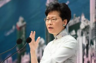 Hong Kong Chief Executive Carrie Lam speaks during a press conference at the government headquarters in Hong Kong on June 15, 2019. (Photo by Anthony WALLACE / AFP)