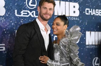 "(FILES) In this file photo taken on June 11, 2019 Australian actor Chris Hemsworth and US actress Tessa Thompson attend the ""Men In Black: International"" premiere at AMC Lincoln Square in New York City. - ""Men in Black: International"" led North American box offices over the weekend, but the new sci-fi comedy was not as far into the black as Sony would have liked, taking in an estimated $28.5 million, industry watcher Exhibitor Relations reported. In this spinoff to the three earlier ""Men in Black"" installments, the roles of black-suited alien-fighters pass from their originators, Will Smith and Tommy Lee Jones, to the younger Chris Hemsworth and Tessa Thompson. Liam Neeson and Emma Thompson also star. (Photo by Angela Weiss / AFP)"