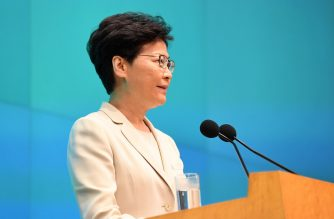 Hong Kong Chief Executive Carrie Lam speaks during a press conference at the government headquarters in Hong Kong on June 18, 2019. - Lam apologised on June 18 for the political unrest sparked by a proposed Beijing-backed law that would have allowed extraditions to mainland China. (Photo by Anthony WALLACE / AFP)