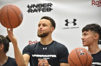 Stephen Curry (C), US basketball player from the Golden State Warriors of the National Basketball Association (NBA), plays his skills during a press conference following his Underrated Tour, a series of basketball camps for high school players, at a university in Tokyo on June 23, 2019. (Photo by Kazuhiro NOGI / AFP)