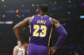 (FILES) In this file photo taken on March 6, 2019 a detail of the jersey of LeBron James #23 of the Los Angeles Lakers is seen during the first quarter against the Denver Nuggets at Staples Center in Los Angeles, California. - LeBron James will give up his number 23 jersey to new Los Angeles Lakers teammate Anthony Davis, who will sacrifice a trade bonus to help finance NBA free agency moves, ESPN reported June 27, 2019. James has worn number 23 during both stints with the Cleveland Cavaliers and with the Lakers last season after he departed his hometown club a year ago in free agency. (Photo by ROBERT LABERGE / GETTY IMAGES NORTH AMERICA / AFP)