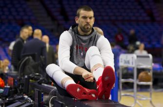 PHILADELPHIA, PA - MAY 05: Marc Gasol #33 of the Toronto Raptors looks on as he ties his shoe prior to Game Four of the Eastern Conference Semifinals against the Philadelphia 76ers at the Wells Fargo Center on May 5, 2019 in Philadelphia, Pennsylvania. NOTE TO USER: User expressly acknowledges and agrees that, by downloading and or using this photograph, User is consenting to the terms and conditions of the Getty Images License Agreement.   Mitchell Leff/Getty Images/AFP