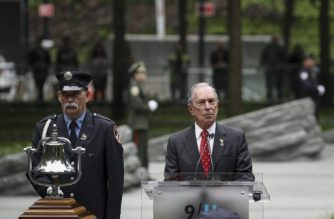 NEW YORK, NY - MAY 30: Former New York City Mayor Michael Bloomberg speaks at the dedication ceremony for the new 9/11 Memorial Glade at the National September 11 Memorial, May 30, 2019 in New York City. The 9/11 Memorial Glade honors the first responders who are sick or have died from exposure to toxins in the aftermath of the attacks and recovery efforts. The signature piece of the memorial are six stone monoliths that are inlaid with World Trade Center steel.   Drew Angerer/Getty Images/AFP