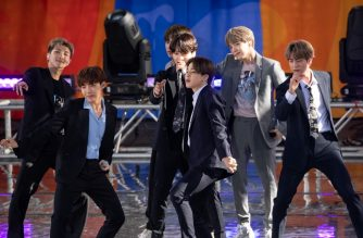 "NEW YORK, NEW YORK - MAY 15: Kim Tae-hyung, Park Ji-min, Jungkook, Suga, Kim Seok-jin, RM and J-Hope of BTS perform on ""Good Morning America"" on May 15, 2019 in New York City.   Noam Galai/Getty Images/AFP"