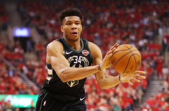 TORONTO, ONTARIO - MAY 25: Giannis Antetokounmpo #34 of the Milwaukee Bucks handles the ball during the first half against the Toronto Raptors in game six of the NBA Eastern Conference Finals at Scotiabank Arena on May 25, 2019 in Toronto, Canada. NOTE TO USER: User expressly acknowledges and agrees that, by downloading and or using this photograph, User is consenting to the terms and conditions of the Getty Images License Agreement.   Gregory Shamus/Getty Images/AFP