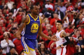 Andre Iguodala #9 of the Golden State Warriors celebrates a basket late in the game against the Toronto Raptors during Game Two of the 2019 NBA Finals at Scotiabank Arena on June 02, 2019 in Toronto, Canada. Gregory Shamus/Getty Images/AFP