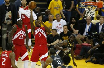 OAKLAND, CALIFORNIA - JUNE 13: Serge Ibaka #9 of the Toronto Raptors attempts a shot against the Golden State Warriors during Game Six of the 2019 NBA Finals at ORACLE Arena on June 13, 2019 in Oakland, California. NOTE TO USER: User expressly acknowledges and agrees that, by downloading and or using this photograph, User is consenting to the terms and conditions of the Getty Images License Agreement.   Lachlan Cunningham/Getty Images/AFP