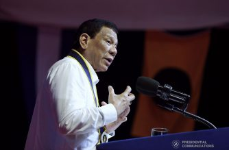 President Rodrigo Roa Duterte delivers his speech during the 121st Philippine Navy Anniversary at the Commodore Rudiardo A. Brown Beaching Area (CRABBA), Naval Base Heracleo Alano in Cavite City on June 17, 2019. ROBINSON NIÑAL JR./PRESIDENTIAL PHOTO