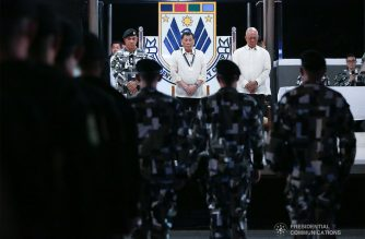 President Rodrigo Roa Duterte joins the Presidential Security Group (PSG) to celebrate its 122nd anniversary at the PSG Compound on June 26, 2019. KARL NORMAN ALONZO/PRESIDENTIAL PHOTO