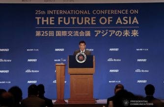 Philippine President Rodrigo Duterte urges Asian nations to take a collective action to tackle global challenges in his address during the Nikkei's 25th International Conference on the Future of Asia at the Imperial Hotel in Tokyo, Japan on May 31, 2019. KARL NORMAN ALONZO/PRESIDENTIAL PHOTO