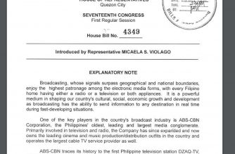 House Bill 4349, filed by Nueva Ecija Representative Micaela Violago seeking to renew the legislative franchise of media giant ABS-CBN filed during the 17th Congress.  (Photo grabbed from website of the House of Representatives, http://www.congress.gov.ph.  (Courtesy http://www.congress.gov.ph)