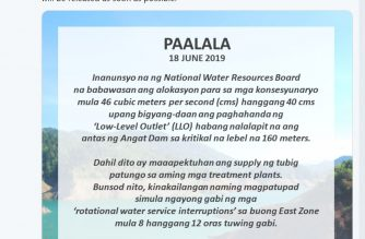Manila Water starts rotational service interruptions Tuesday night as Angat Dam nears critical level
