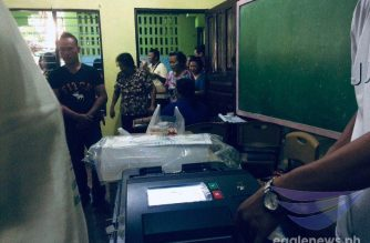 One of the vote counting machines of Smartmatic which malfunctioned during the May 13, 2019 elections.  The photo was taken during the May 13 elections in a precinct in Negros Occidental. (Eagle News Service)