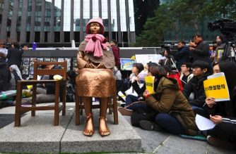 "(File photo) South Korean protesters sit near a statue of a teenage girl symbolizing former ""comfort women"", who served as sex slaves for Japanese soldiers during World War II, during a weekly anti-Japanese demonstration in front of the Japanese embassy in Seoul on November 21, 2018. - South Korea on November 21 announced the formal shutdown of a controversial Japanese-funded foundation created to help former wartime sex slaves -- a move that will further sour ties between the neighbours. (Photo by Jung Yeon-je / AFP)"