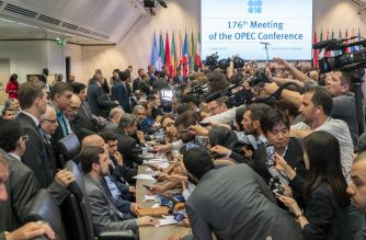 Journalists interview oil Ministers on the sidelines of the 176th meeting of the Organization of the Petroleum Exporting Countries (OPEC) conference and the 6th meeting of the OPEC and non-OPEC countries on July 1, 2019 in Vienna, Austria. (Photo by JOE KLAMAR / AFP)