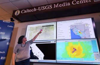 Seismologist Lucy Jones speaks at a media briefing at the Caltech Seismological Laboratory in Pasadena, California following the 6.4 Searles earthquake near Ridgecrest about 150 miles (241km) north of Los Angeles, July 4, 2019. - Southern California was rocked by a 6.4-magnitude earthquake Thursday morning, the US Geological Survey said, with authorities warning that the temblor, the largest in two decades, might not be the day's last. (Photo by Robyn Beck / AFP)