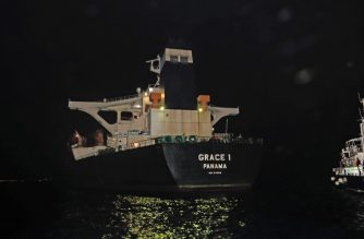"A handout picture released by the Ministry of Defence shows the Panama registered Grace 1 tanker halted by Gibraltar police and a detachment of British Royal Marines in the Gibraltar Strait in the early hours of July 4, 2019. - Iran demanded on July 5, 2019 that Britain immediately release an oil tanker it has detained in Gibraltar, accusing it of acting at the bidding of the United States. (Photo by Handout / MOD / CROWN COPYRIGHT 2019 / AFP) / RESTRICTED TO EDITORIAL USE - MANDATORY CREDIT  "" AFP PHOTO / CROWN COPYRIGHT 2013 ""  -  NO MARKETING NO ADVERTISING CAMPAIGNS   -   DISTRIBUTED AS A SERVICE TO CLIENTS  -  NO ARCHIVE - TO BE USED WITHIN 2 DAYS FROM + DATE (48 HOURS), EXCEPT FOR MAGAZINES WHICH CAN PRINT THE PICTURE WHEN FIRST REPORTING ON THE EVENT /"
