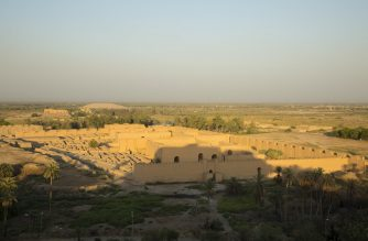 (FILES) In this file photo taken on June 29, 2019, a general view of the ancient archaeological site of Babylon, south of the Iraqi capital Baghdad. - UNESCO's World Heritage Committee voted on June 5, 2019 to list the sprawling Mesopotamian metropolis of Babylon as a World Heritage Site after three decades of lobbying efforts by Iraq. (Photo by Hussein FALEH / AFP)
