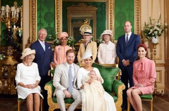 "This official handout Christening photograph released by the Duke and Duchess of Sussex shows Britain's Prince Harry, Duke of Sussex (centre left), and his wife Meghan, Duchess of Sussex holding their baby son, Archie Harrison Mountbatten-Windsor flanked by (L-R) Britain's Camilla, Duchess of Cornwall, Britain's Prince Charles, Prince of Wales, Ms Doria Ragland, Lady Jane Fellowes, Lady Sarah McCorquodale, Britain's Prince William, Duke of Cambridge, and Britain's Catherine, Duchess of Cambridge in the Green Drawing Room at Windsor Castle, west of London on July 6, 2019. - Prince Harry and his wife Meghan had their baby son Archie christened on Saturday at a private ceremony. (Photo by Chris ALLERTON / SUSSEXROYAL / AFP) / XGTY / RESTRICTED TO EDITORIAL USE - MANDATORY CREDIT ""AFP PHOTO / SUSSEXROYAL / CHRIS ALLERTON"" - NO MARKETING NO ADVERTISING CAMPAIGNS - NO COMMERCIAL USE - NO THIRD PARTY SALES - RESTRICTED TO SUBSCRIPTION USE - NO CROPPING OR MODIFICATION - NOT FOR USE AFTER DECEMBER 31, 2019 - DISTRIBUTED AS A SERVICE TO CLIENTS /"