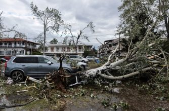 A picture taken on July 11, 2019 shows broken trees fallen on cars after a storm in Nea Plagia, in Chalkidiki, Northern Greece. - Tornadoes and violent hailstorms killed six tourists in northern Greece late on July 10, 2019, police said. Dozens more were injured when strong winds hit the region of Halkidiki, near the city of Thessaloniki, authorities added. (Photo by Sakis MITROLIDIS / AFP)