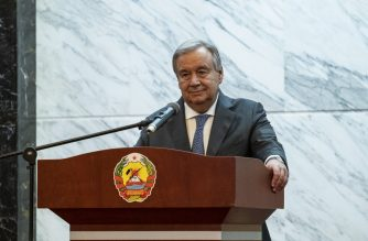 United Nations Secretary General Antonio Guterres speaks during a press conference at the President of Mozambique's Office on July 11, 2019 in Maputo. (Photo by Wikus DE WET / AFP)