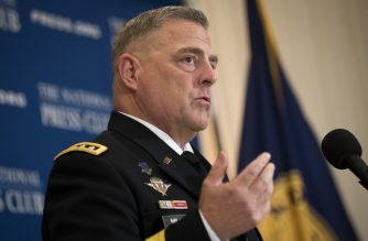 """(FILES) In this file photo taken on July 26, 2017 General Mark Milley, Chief of Staff of the US Army, speaks at the National Press Club, in Washington, DC. - The United States and its allies are discussing plans to provide naval escorts for oil tankers through the Gulf, a top US general said July 11, 2019 after Iranian military vessels menaced a British tanker.General Mark Milley, nominated to become the chairman of the Joint Chiefs of Staff, told a Senate hearing that the US has a """"crucial role"""" in enforcing freedom of navigation in the Gulf. (Photo by Drew Angerer / GETTY IMAGES NORTH AMERICA / AFP)"""