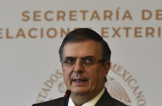 Mexico's Foreign Minister Marcelo Ebrard gives a press conference in Mexico City on July 15, 2019. - The Mexican government rejected on Monday the restrictions on asylum that US President Donald Trump seeks to impose on migrants. (Photo by RODRIGO ARANGUA / AFP)